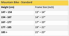 Bike Frame Size Chart Cm Frame Size Getting The Perfect Fit Aleoca