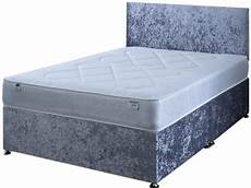 4ft small silver crushed velvet divan bed comfi beds