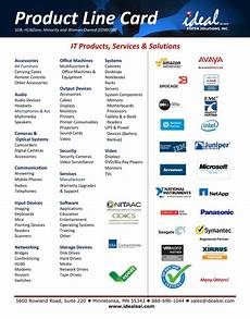 Product Card Templates Product Line Card Ideal System Solutions Inc Ideal