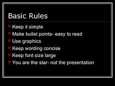 Powerpoint Rules Basic Powerpoint Guidelines