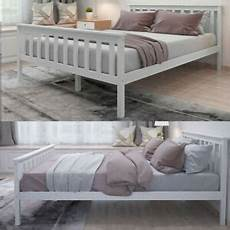 bed in white grey 4 6ft solid wooden pine frame