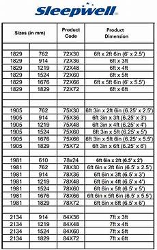 Bed Size Chart India Sleepwell Foam Mattress Boriya Bistar