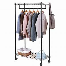 hanging clothes rack on wheels heavy duty clothes rack hanging rod garment rack w wheels
