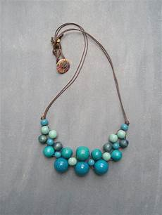 Different Bead Necklace Designs Blue Bib Wooden Bead Necklace Vibrant Designs On Madeit