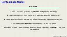 How To Write An Abstract Apa Sample How To Write In Apa Format Properly