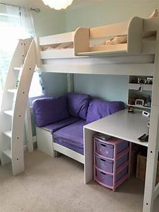 scallywags white high sleeper bed integral desk and