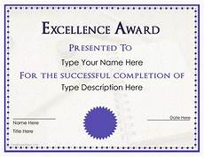 Award Templates Excellence Award Certificate Templates At