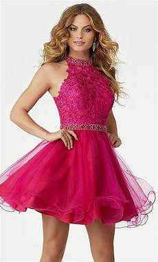 mori fuchsia pink homecoming dress promgirl