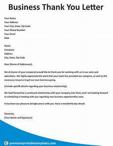 Sample Thank You Business Letters Business Thank You Letter Business Letter Template