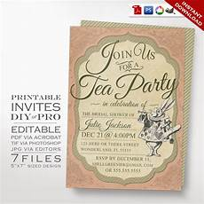 Vintage Party Invitation Alice In Wonderland Tea Party Invitation Template Vintage