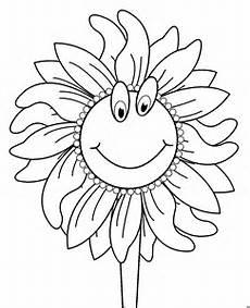 sonnenblume mit gesicht ausmalbild malvorlage comics