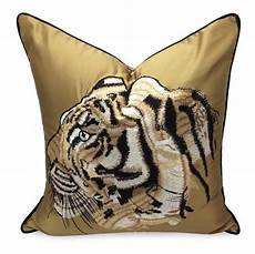 tiger embroidered cushion cover gurups