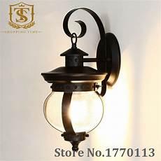Black Iron Outdoor Lights Retro Handmade Clear Glass Wall Lamp Balcony Black Iron