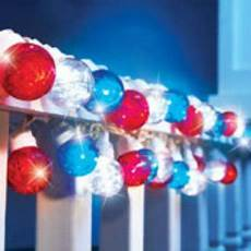 Red White Blue String Lights Led Lighted Patriotic 4th Of July Red White Blue Tinsel