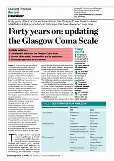 Glasgow Coma Scale Pdf Forty Years On Updating The Glasgow Coma Scale