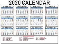 2020 Calendar Holidays Usa Calendar 2020 With Holidays Usa On We Heart It