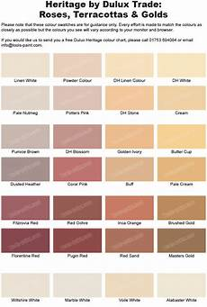 Heritage Paint Colour Chart Rose Terracotta And Gold Shades From The Dulux Heritage