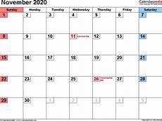 November 2020 Calendar Printable Free November 2020 Calendar Templates For Word Excel And Pdf