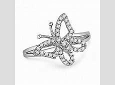 1/5 CT. T.W. Diamond Butterfly Ring in Sterling Silver