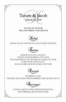 5 Course Meal Menu Template Wedding Menu Templates Perfect And Easy Menus For Your