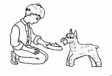 kleiner hund mit junge ausmalbild malvorlage kinder