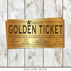 Golden Ticket Invitation Willy Wonka Birthday Golden Ticket Birthday Invitation