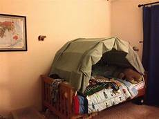 blue jungle home made tent bed for single bed