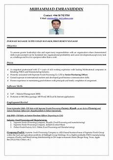 Purchase Ms Word Purchasing Manager Cv Word