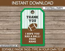 Party Favor Tag Football Party Favor Tags Thank You Tags Birthday Party