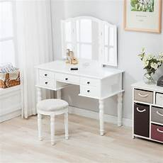 white tri folding mirror vanity makeup table dressing desk
