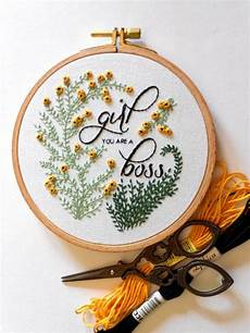 feminist wall flower embroidery hoop
