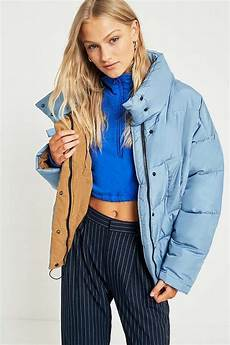 Light Blue Puffer Jacket Urban Outfitters Light Before Dark Light Blue Contrast Lining Pillow Puffer
