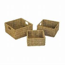 jvl set of 3 seagrass square storage baskets with