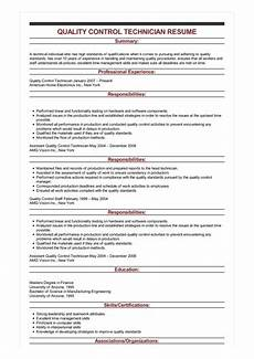 Quality Control Technician Resumes Sample Quality Control Technician Resume