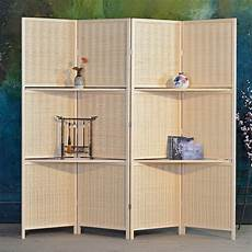 bamboo 4 panel folding room divider screen w removable