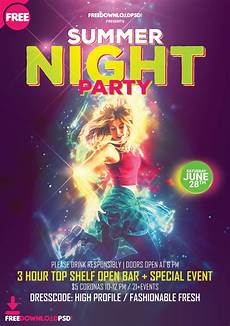 Flyer Partys Summer Night Party Flyer Template Psd Freedownloadpsd Com