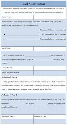 Event Planner Agreement Contract Template For Event Planner Format Of Event