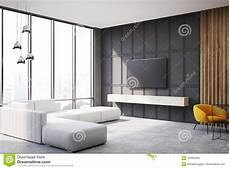 Narrow Sofa 3d Image by Gray And Wooden Living Room Tv Set And Sofa Side Stock