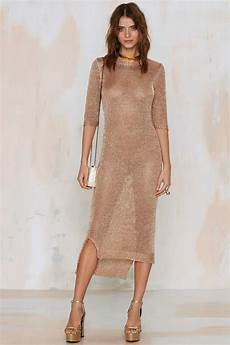 lyst gal everything is turning to gold knit dress