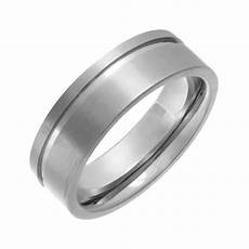 groove ring titanium flat court shape matt with polished side groove