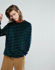 oversized sleeve tshirt asos asos oversized sleeve stripe t shirt in navy