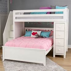 all in one staircase loft bed storage bed white