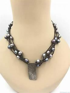 Designer Sterling Silver Necklaces Designer Tica Rosa Sterling Silver Leather Multi Strand