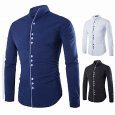 casual shirts sleeve s slim fit stand sleeve collar shirt tops stylish