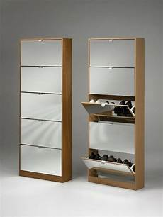 mirrored shoe storage cabinet in oak with five