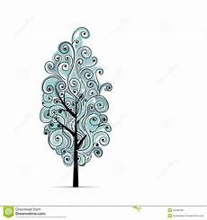 Blue Tree Design Abstract Wavy Blue Tree For Your Design Royalty Free Stock