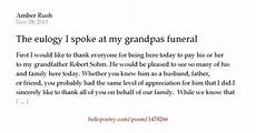 Funeral Speech For Grandpa The Eulogy I Spoke At My Grandpas Funeral 11 28 15 By