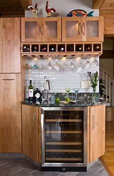 eclectic contemporary post beam corner wine cabinet