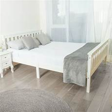 home treats bed in white 4 6ft solid wooden frame