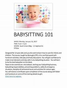 Babysitter Sign Up Babysitting 101 For 12 Sign Up By Tomorrow